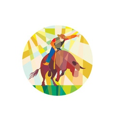 Rodeo cowboy bull riding pointing low polygon vector