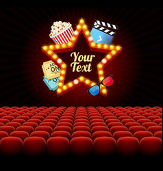cinema movie retro concept with seats rows vector image vector image