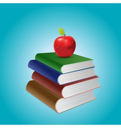 Stack of books and apple vector image vector image