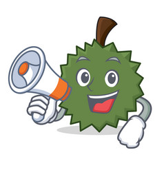 With megaphone durian character cartoon style vector