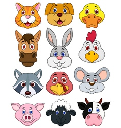 Animal head cartoon set vector image vector image