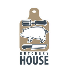 butchery house logo label isolated on white vector image vector image