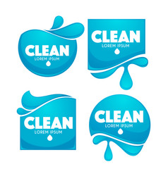 collection of clean water stickers and symbols vector image vector image
