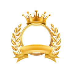 gold crown laurel wreath winner frame isolated vector image