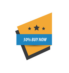Label buy now and 3 star blue yellow black vector