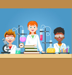 Pupils in chemistry lab vector