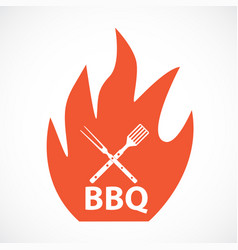 bbq icon with grill tools vector image vector image