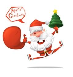Cartoon Jolly Santa Claus with a Christmas tree vector image vector image