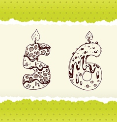 Collection of Birthday Candles 5 and 6 vector image