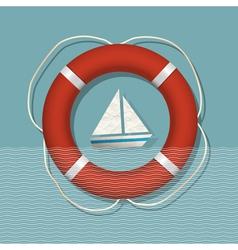 Lifebuoy and paper sailboat vector image