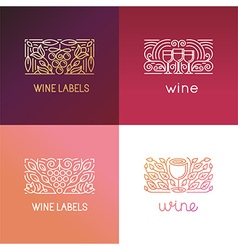 set of logo design elements and signs for wine vector image