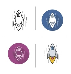 Spaceship flat design linear and color icons set vector image vector image