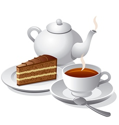 tea and cake icon vector image vector image
