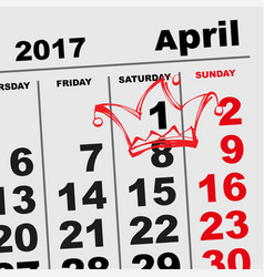 1 april fools day calendar reminder vector image