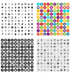 100 diagnostic icons set variant vector image