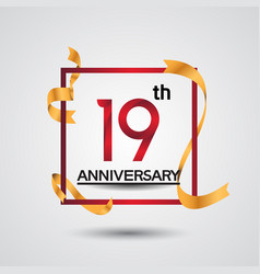 19 anniversary design with red color in square vector