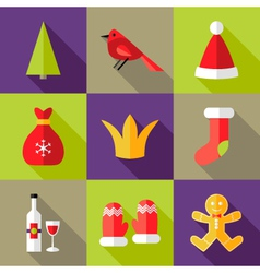 9 Christmas Flat Icons Set 6 vector
