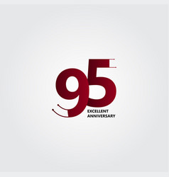 95 years excellent anniversary template design vector
