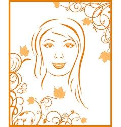 autumn girl portrait vector image