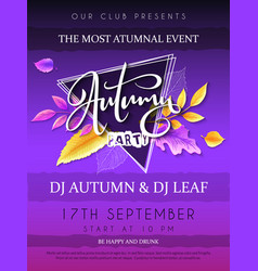 Autumn party poster with hand drawn vector