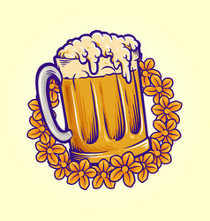 Beer glass flowers summers party october fest logo vector