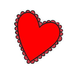 Big red heart with a pattern on white background vector