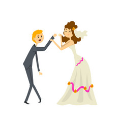 Bride manipulating her groom couple of newlyweds vector