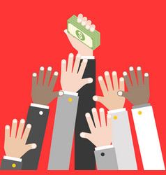 business hand holding pile of dollar banknote and vector image