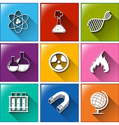 Buttons with science materials vector
