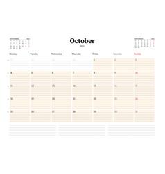 Calendar template for october 2021 business vector