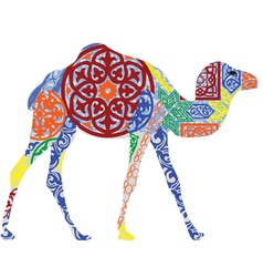 Camel in the Arab ornament vector