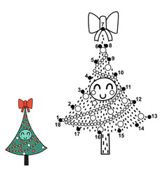 Christmas dot to dot game with a funny tree vector