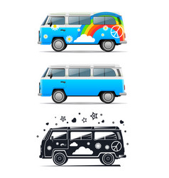 Classic vintage hippie car peace and love vector