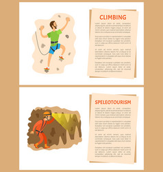 Climbing and speleotourism active lifestyle men vector