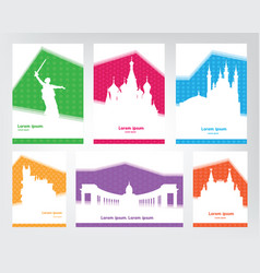 collection of colorful touristic posters with vector image
