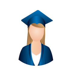 color woman graduation icon vector image