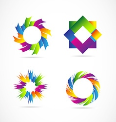 Colored logo elements icon set design vector image