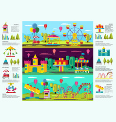 Colorful amusement park infographic banners vector