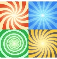 Comic book backgrounds set Retro sunburst vector