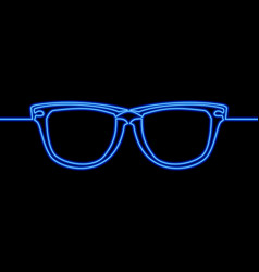continuous one line drawing glasses neon concept vector image