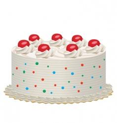 Cream cake with cherries vector