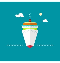 Cruise ship at sea or in the ocean on a sunny day vector