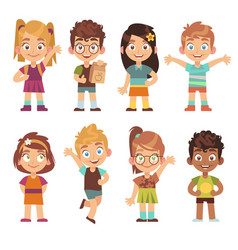 Cute cartoon kids set children girls boys vector