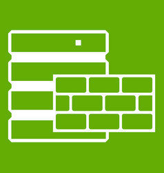 database and brick wall icon green vector image