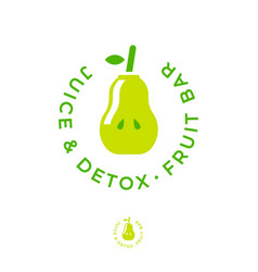 detox juice fruit bar logo green pear like bottle vector image