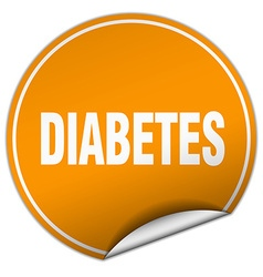 Diabetes round orange sticker isolated on white vector
