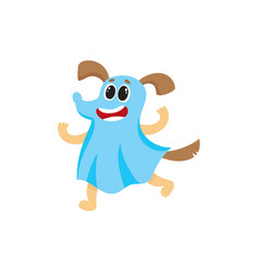 Dog puppy character in a ghost halloween outfit vector