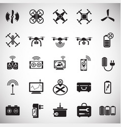 Drone icons set on white background for graphic vector