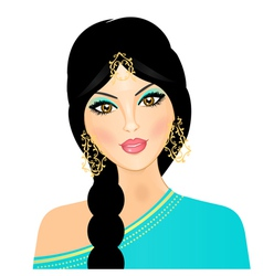 eastern indian girl vector image