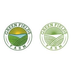emblems green field farm vector image